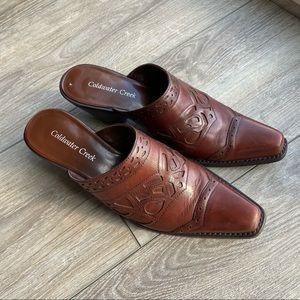 Vintage Coldwater Creek Leather Western Mules Cuban Heel